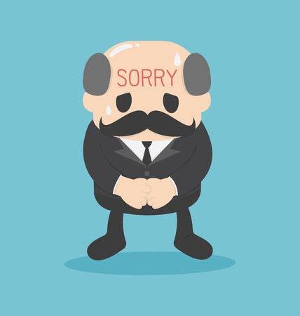 unfaithful: business man Written sorry sign on the Forehead  vector