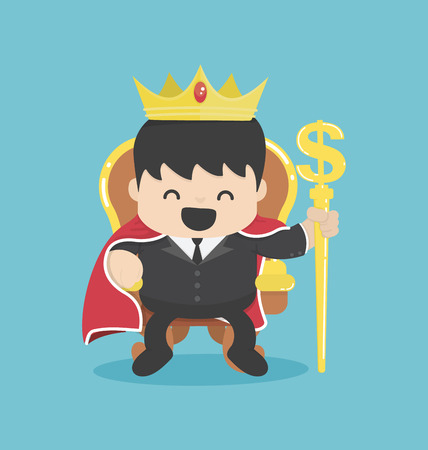 A successful businessman is sitting on throne crown on his head