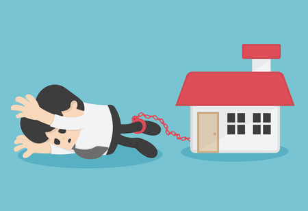 Cartoon Character Business chained on ankle the debt of home Illustration