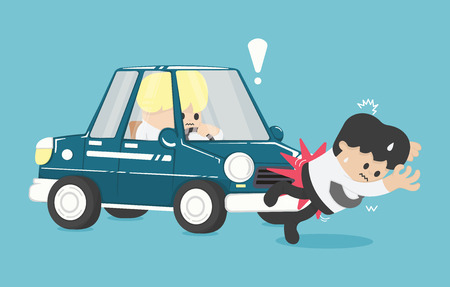 skid: Business man hit by a car Flat Vector Illustration