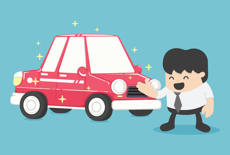 owning: Businessman standing next to new car red  Vector illustration. Concept Business