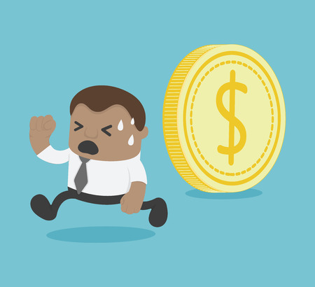 Coin is rolling can  crushed him ,African Businessman running Money Illustration