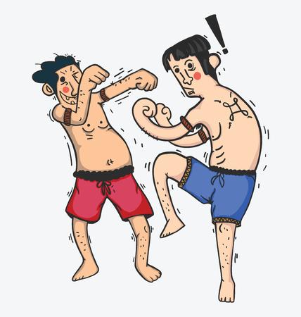 arrogant: illustration of cartoon Boxing funny , Show muay thai