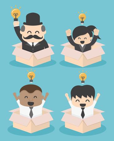 Businessman think outside the box. flat vector illustration.SET
