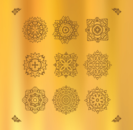 tissu or: Design elements graphic Thai design on a gold cloth