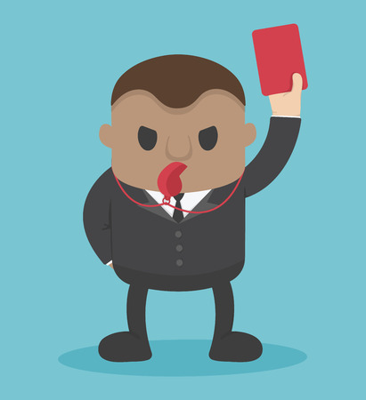 businessman blow  whistle, lift red card Illustration