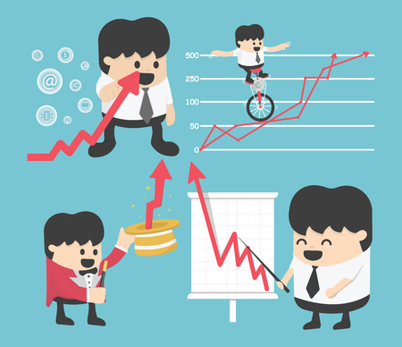 brokers: Set Illustration businessman concepts cartoon business stock exchange. Flat, vector,