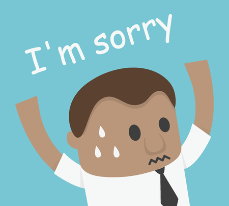 flaw: African Businessman hand up shock and says i am sorry illustration
