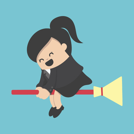happy business woman: Business woman rides broom with happy illustration