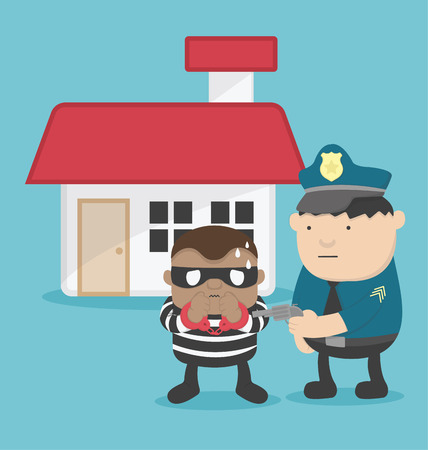 illustration of a thief after steal a home. Police arrested Illustration