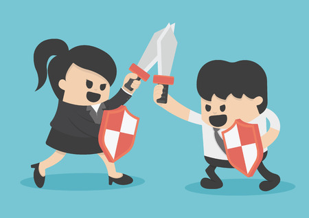 associates: Concept business struggle man and woman with sword and shield Illustration