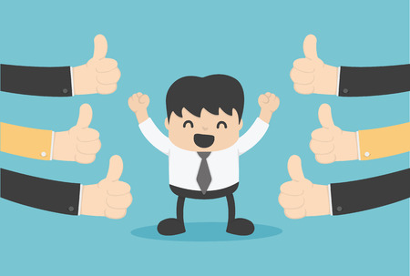 Vector illustration of a successful businessman  many hands thumbs up Illustration