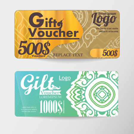 thai pattern: gift voucher two cards pattern Thai business card