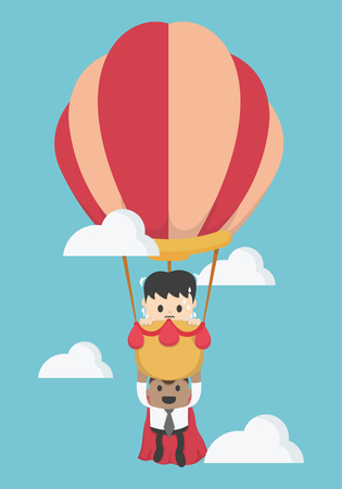 Concept help fellow businessmen to success. Balloon,super businessman,To the sky Illustration