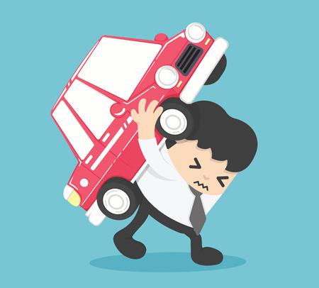 Geschäftsmann Automobil Darlehen Haftung. Illustration