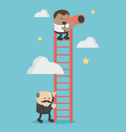 Concept Joined hands businessman boss and employee success illustration. Illustration