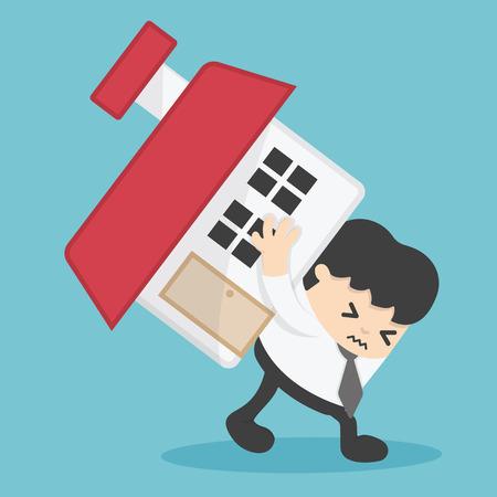 Zobowiązanie z tytułu kredytu mieszkaniowego biznesmena. ilustracja wartości nieruchomości