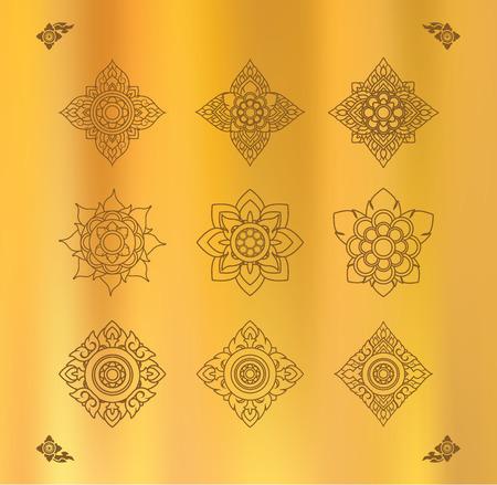 tissu or: Vector set of thai art design on gold cloth Illustration