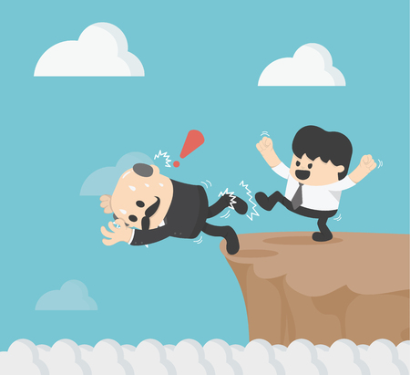 illustration Kickass to the boss to fall cliff eps.10