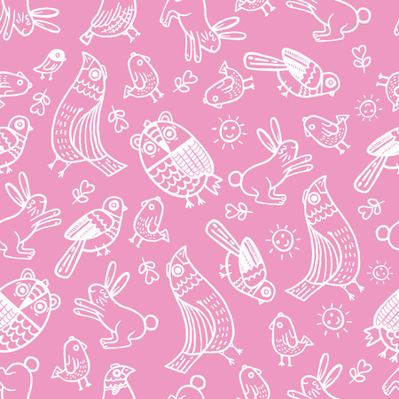 animals collection: Pattern vector hand drawn cute collection. Stylish and elegant cartoon animals. Cute and hipster. Illustration