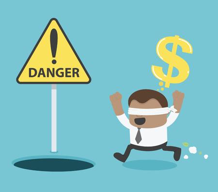 천공 hole.signs 돈을 찾을 수 실행하는 눈 가리 개를 아프리카 사업가 위험 경고