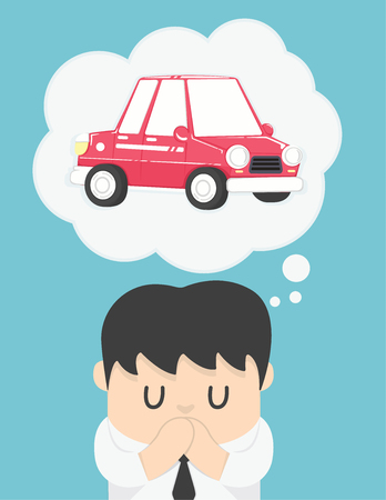 business man dreaming about car Illustration