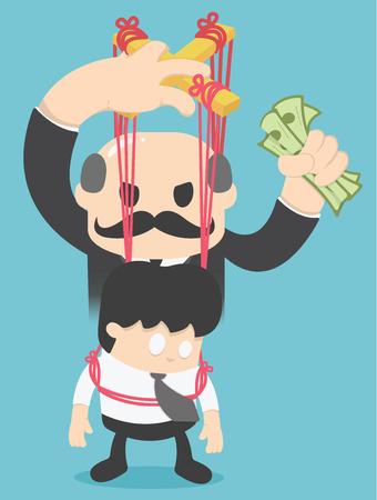 Illustrazione concettuale di un uomo d'affari controllato con la gente ha soldi Vettoriali