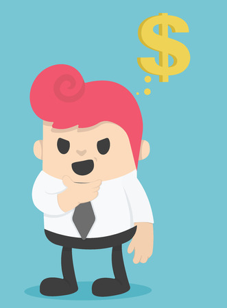 passive income: Businessman Think about the money illustration Illustration