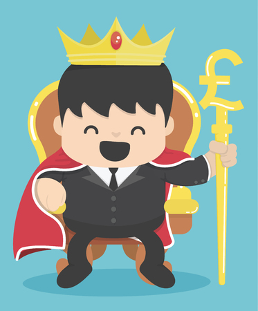 scepter: King of businessman with silver pound symbol