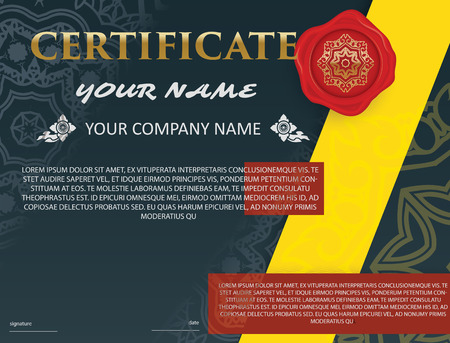 luxury template: Certificate template with luxury pattern,diploma,Vector illustration Thai style