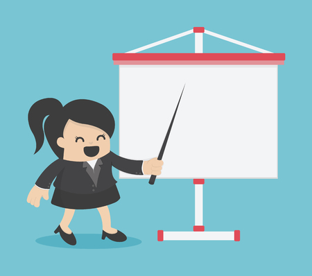 Businesswoman explaining report illustration.