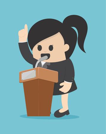 woman business suit: Businesswoman giving a speech.