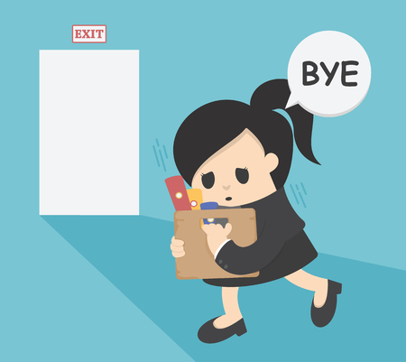 Businesswoman resigned illustration.