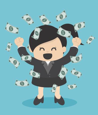 Femme d'affaires en profitant de l'argent pluie