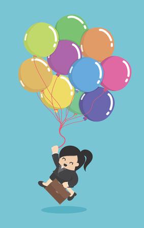 Affaires hold ballons colorés