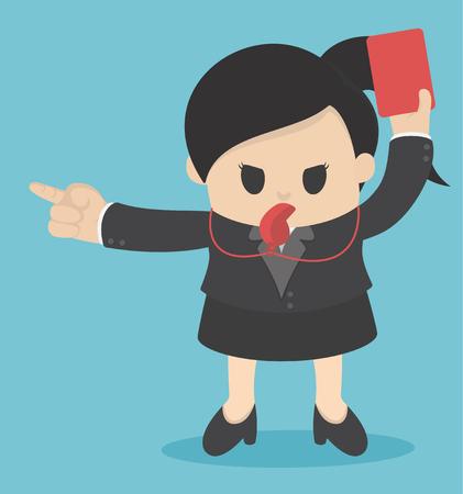 Empresaria mostrando tarjeta roja por mala práctica