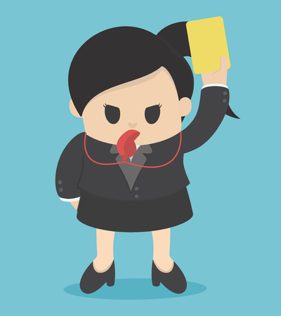 dismissal: Businesswoman showing yellow card for bad practice. Illustration
