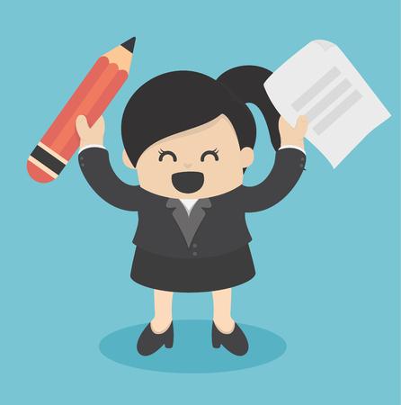 Affaires, tenue, crayon et papier