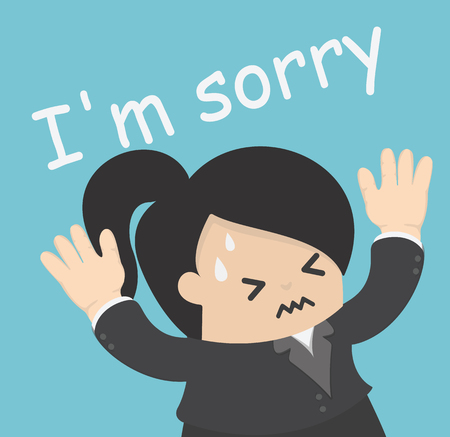 emotion faces: Businesswoman is sorry