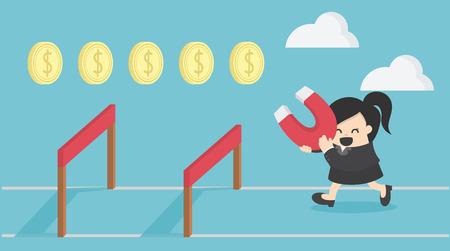Businesswoman jump over hurdle