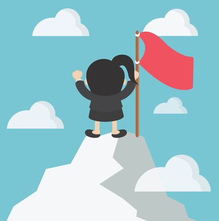 happy woman: Business woman in mountains Leader on the top Vector illustration in flat cartoon
