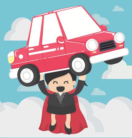 femme Super affaires portant car.Concept prêts automobiles Illustration
