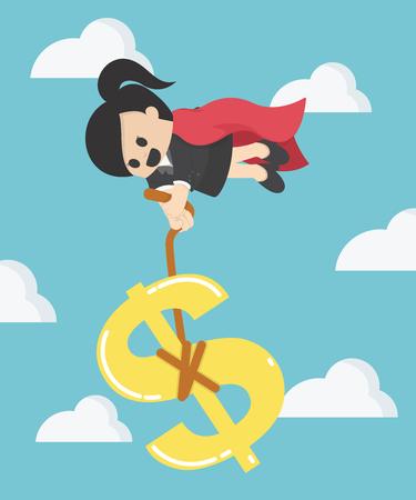 Super Femme d'affaires tirant symbole argent monnaie dollar
