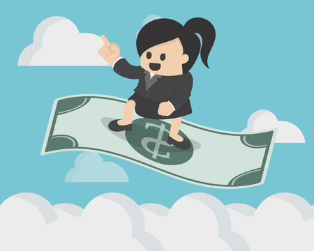 ventures: Business Woman standing on the flying magic dollar Illustration