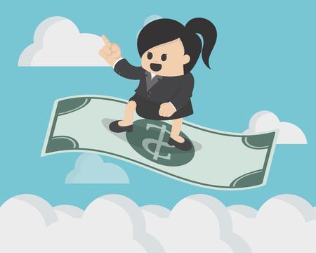 Femme d'affaires debout sur le dollar magique volant