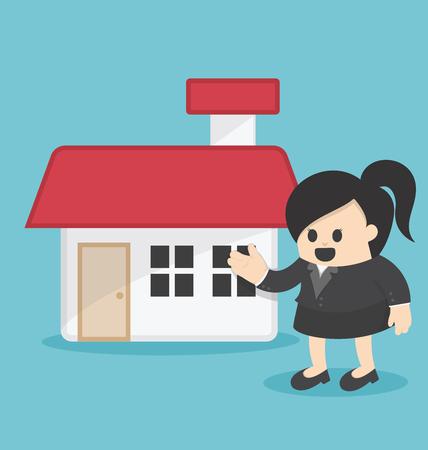 Femme d'affaires à la maison d'offre Illustration