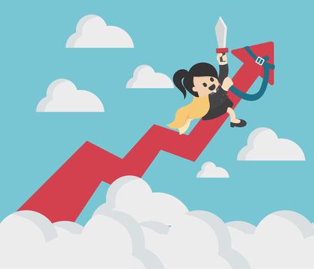 Femme d'affaires succès à cheval flèche représenter graphiquement jusqu'à ciel