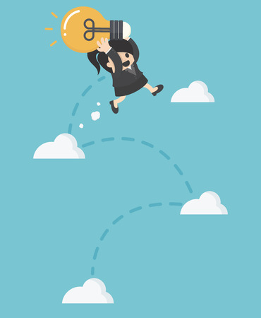 Femme d'affaires tenant ampoule sauter à ciel Illustration