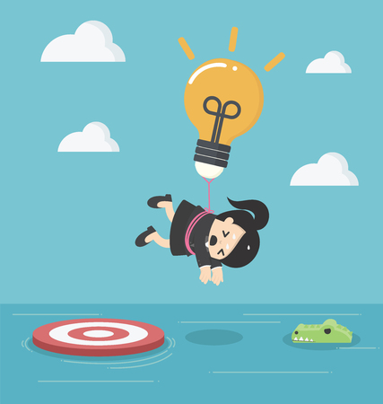 pensador: Business woman with a light bulb parachute is flying above the river with crocodiles