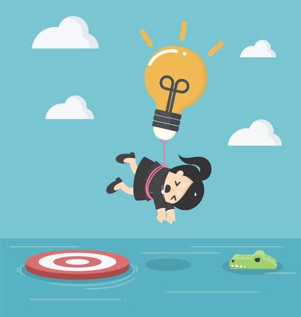 Femme d'affaires avec un parachute ampoule vole au-dessus de la rivière avec des crocodiles